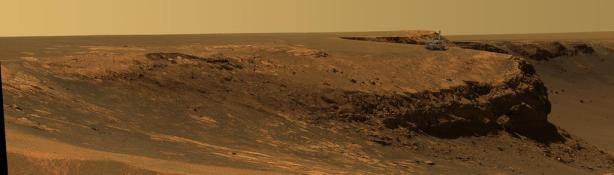 Opportunity on rim of Victoria Crater (Courtesy NASA/JPL-Caltech.)