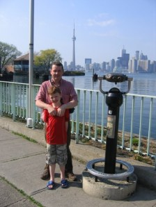 Dad and son in Toronto